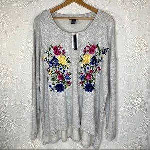 NWT $74 Chelsea & Theodore Embroidered Sweater